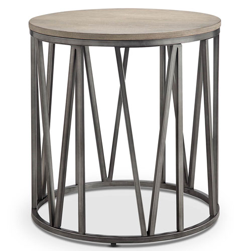 251 First Selby Round Accent End Table In Weathered White Oak