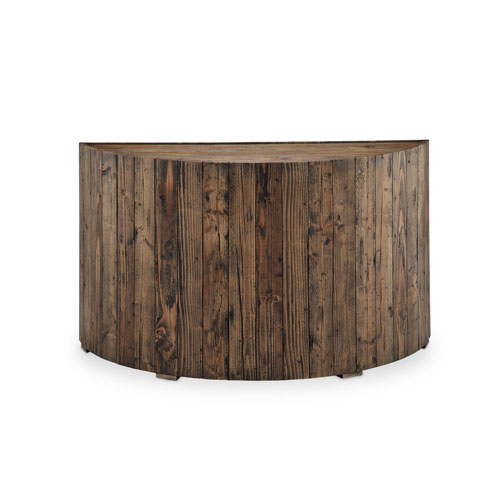251 First River Station Demilune Sofa Table In Rustic Pine