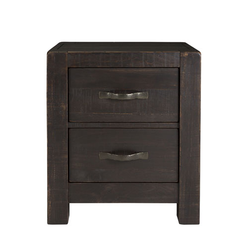251 First River Station Rustic 2 Drawer Nightstand In Dark Chocolate