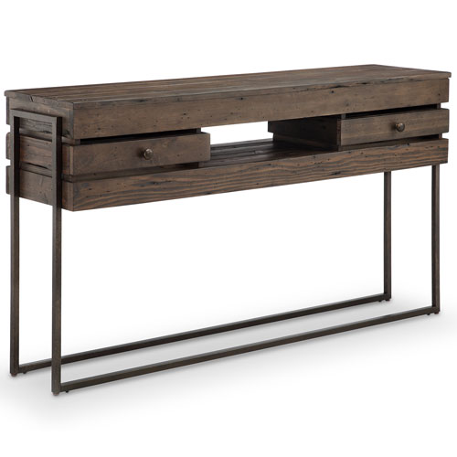 251 First Fulton Rustic Dark Whiskey Reclaimed Wood Rectangular Console Table