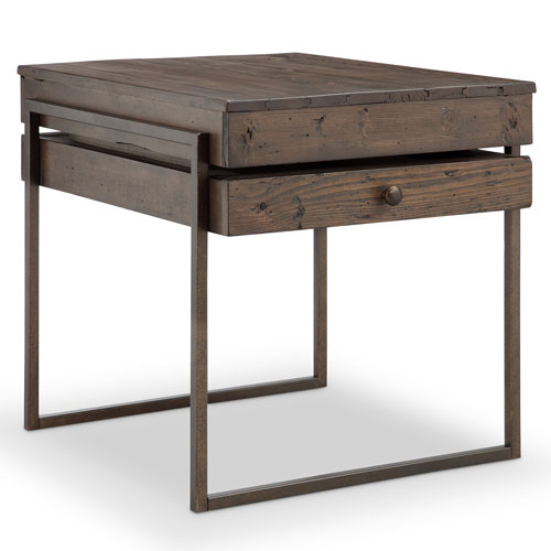251 First Fulton Rustic Dark Whiskey Reclaimed Wood Rectangular End Table