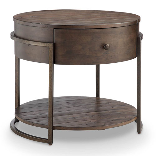 251 First Fulton Rustic Dark Whiskey Reclaimed Wood Round Accent Table
