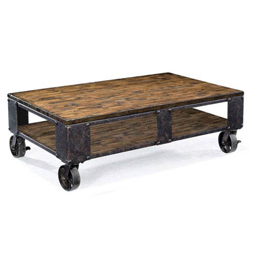 251 First River Station Natural Pine Rectangular Cocktail Table, Two braking casters