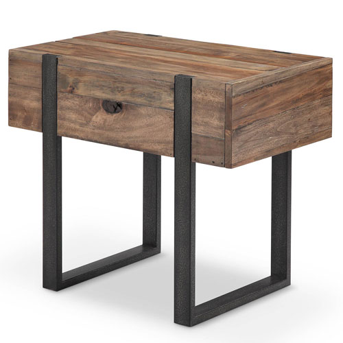 251 First Fulton Industrial Farmhouse Reclaimed Wood Chairside End Table in Rustic Honey