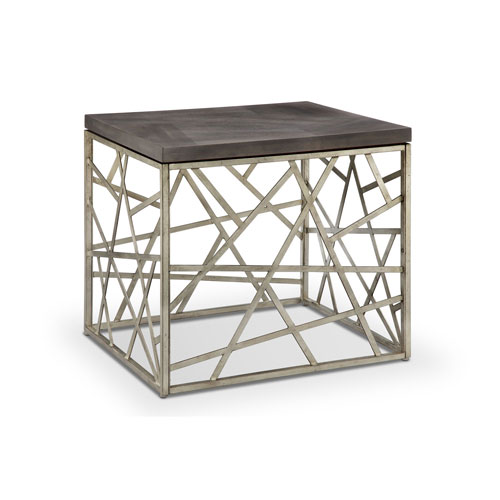 251 First Kenwood Rectangular End Table in Distressed Silver and Smoke Grey