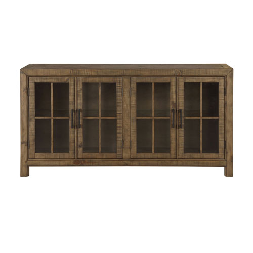 Quinn Buffet Curio Cabinet in Weathered Barley