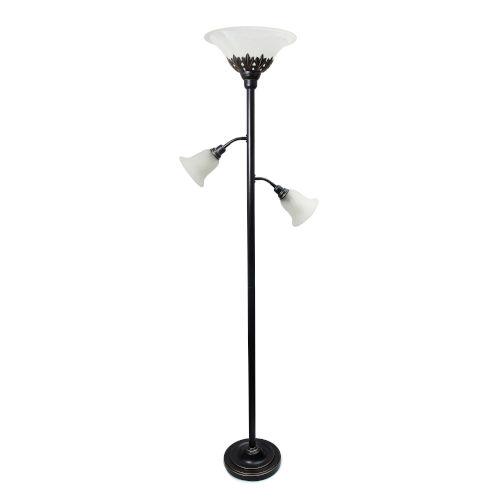 Quince Restoration Bronze Three-Light Floor Lamp with White Shade