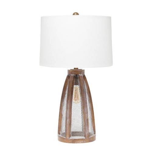 Maize Old Wood White Two-Light Table Lamp