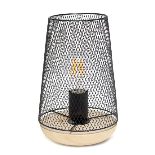 Wired Black One-Light Mesh Uplight Table Lamp