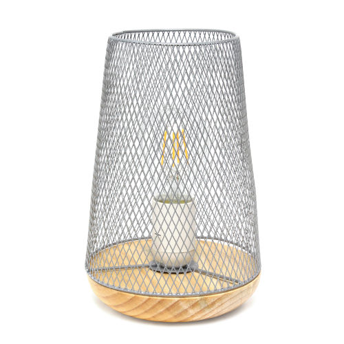 Wired Gray One-Light Mesh Uplight Table Lamp