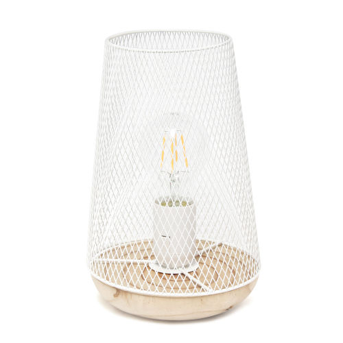 Wired White One-Light Mesh Uplight Table Lamp