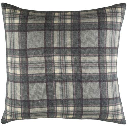 251 First Afton Green and Gray Plaid 20-Inch Pillow with Poly Fill