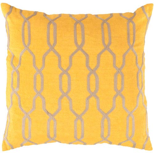 251 First Linden Golden Rod and Linen 18 In. Pillow Cover with Poly Insert