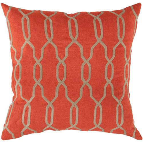 Linden Orange-Red and Linen 18 In. Pillow Cover with Poly Insert