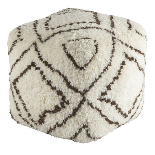 Afton Dark Brown and Khaki Pouf