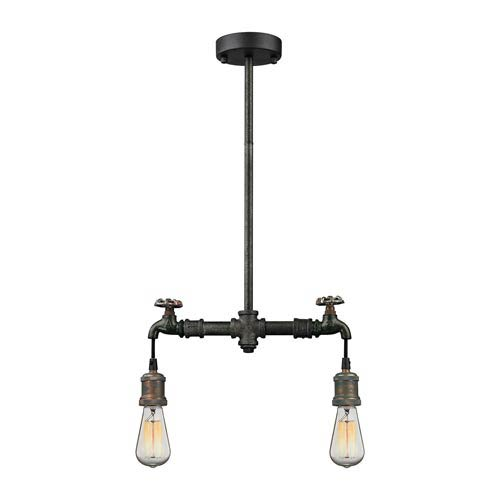 River Station Multicolor Weathered Two-Light Mini Pendant