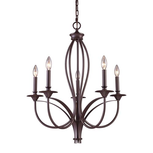 251 First Aster Oiled Bronze Five-Light Chandelier