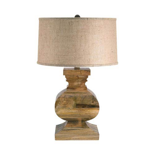 251 First Quinn Natural One Light Table Lamp With Round Hardback Burlap  Shade