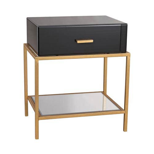 Monroe Black Glass One-Drawer Side Table
