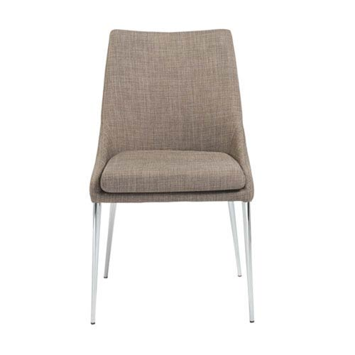 251 First Uptown Dining Chair in Dark Gray with Chrome Legs, Set of 2