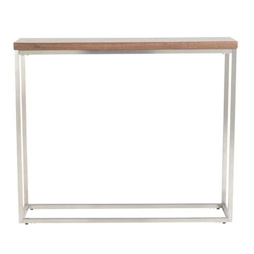 251 First Uptown Console Table in American Walnut with Brushed Stainless Steel Frame