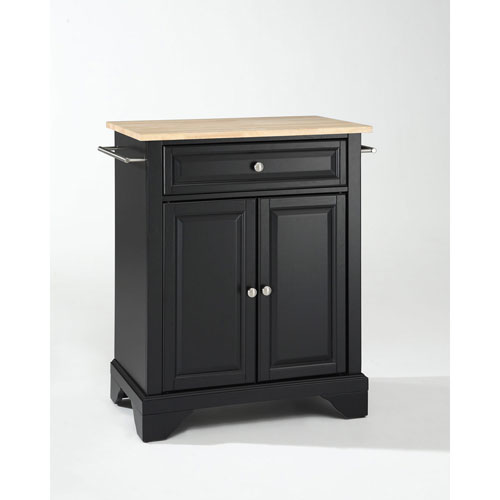 251 First Afton Natural Wood Top Portable Kitchen Island in Black Finish