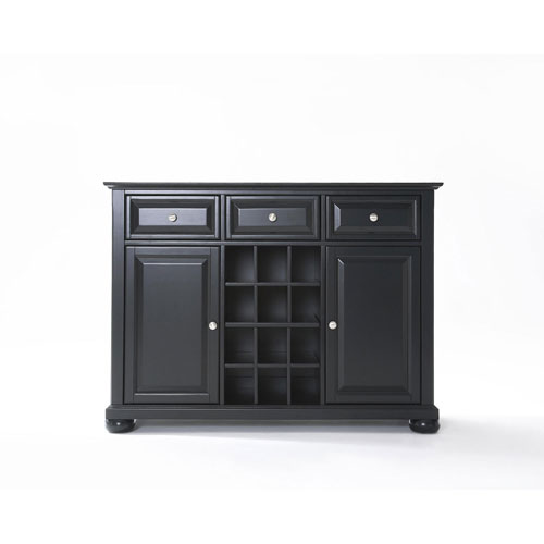 Wellington Buffet Server/Sideboard Cabinet with Wine Storage in Black Finish