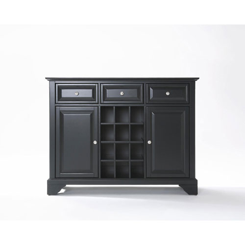 Afton Buffet Server/Sideboard Cabinet with Wine Storage in Black Finish