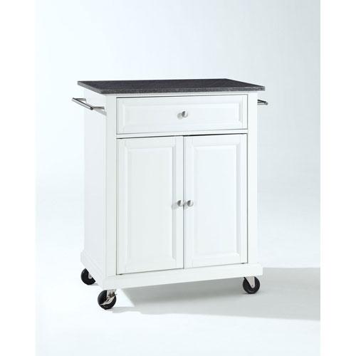251 First Hayden Solid Black Granite Top Portable Kitchen Cart/Island in White Finish