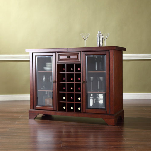 251 First Wellington Sliding Top Bar Cabinet in Vintage Mahogany Finish