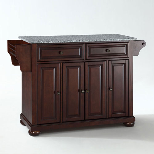 Wellington Solid Granite Top Kitchen Island in Vintage Mahogany Finish