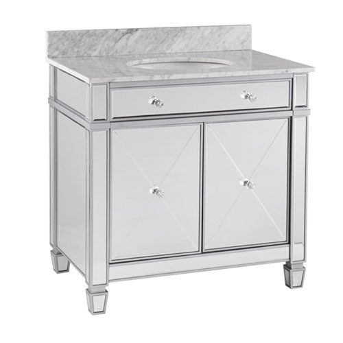 251 First Vivian Matte Silver Double-Door Bath Vanity Sink with Marble Top
