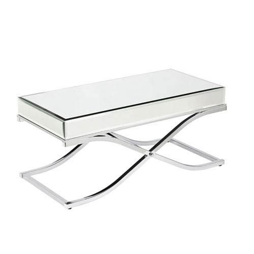251 First Monroe Chrome Mirrored Cocktail Table