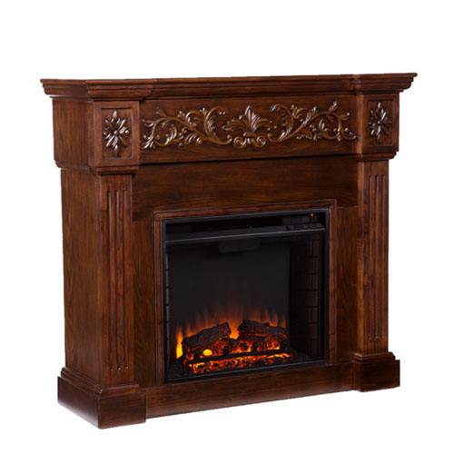 Wellington Espresso Carved Electric Fireplace