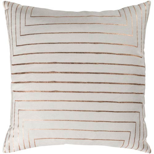 251 First Monroe Cream and Copper 20 In. Throw Pillow with Poly Fill