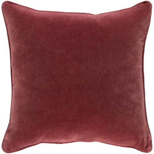 Aster Burgundy Velvet 18 In. Throw Pillow