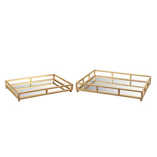 Vivian Gold Grid Rectangle Tray, Set of 2