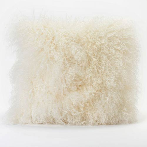 Vivian Fur Cream Square Decorative Pillow