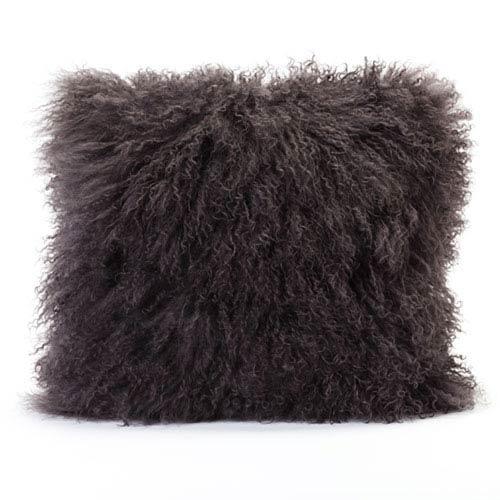 Vivian Fur Grey Square Decorative Pillow