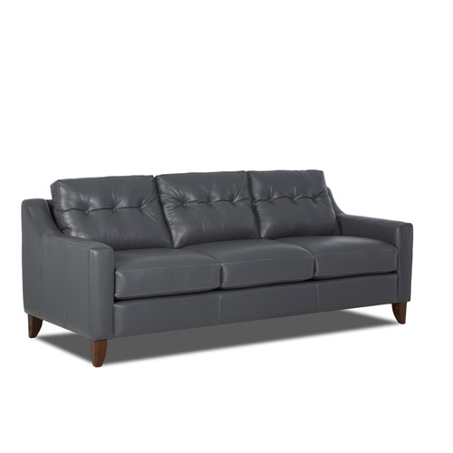 251 First Loring Gunmetal Leather Sofa