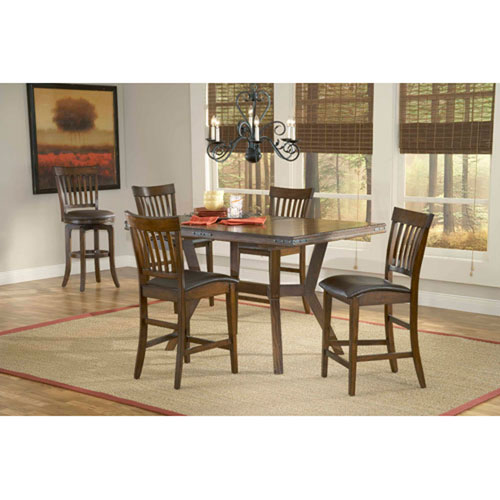 Afton Colonial Chestnut Five Piece Counter Height Dining Set