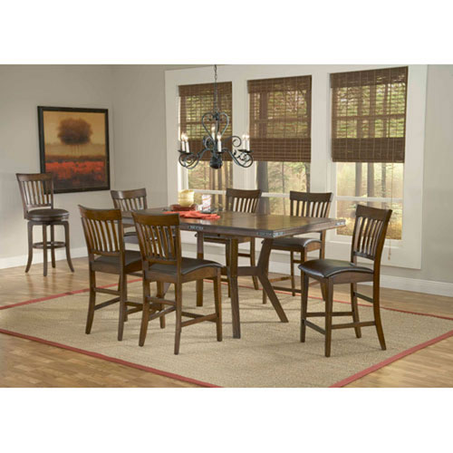 Afton Colonial Chestnut Seven-Piece Counter Height Dining Set