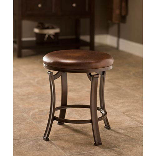 Evelyn Antique Bronze Backless Vanity Stool