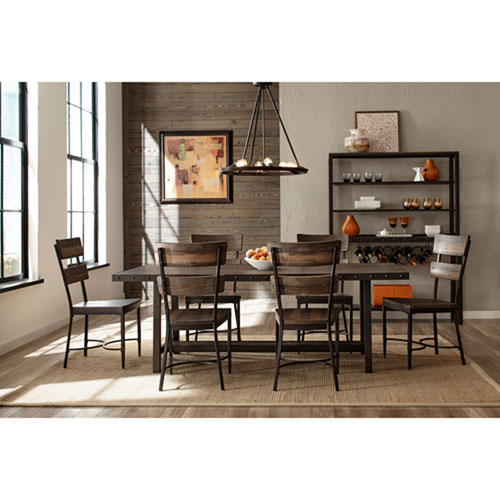 251 First River Station Distressed Walnut Seven Piece Dining Set