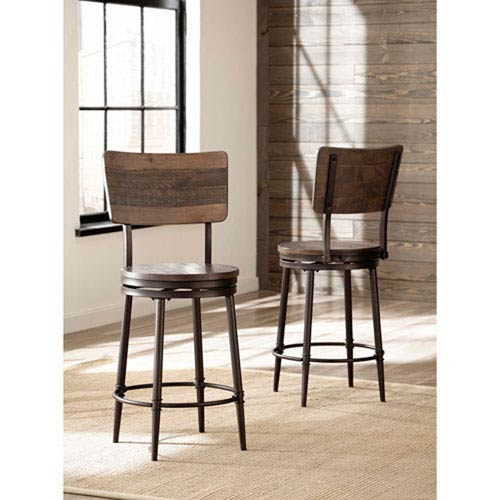 River Station Distressed Walnut Swivel Counter Stool