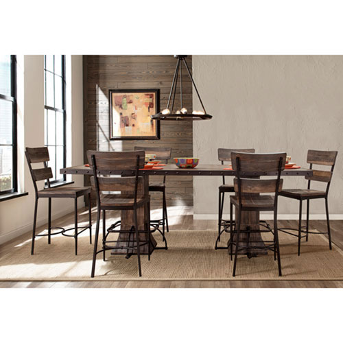 River Station Seven Piece Rectangle Counter Height Dining Set with Non-Swivel Counter Stools