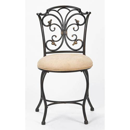 251 First Wellington Black Gold Vanity Stool
