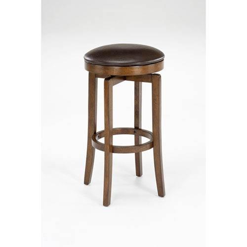 Wellington Brown Cherry Wood Backless Swivel Counter Stool