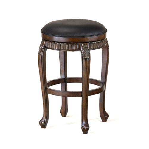 251 First Wellington Distressed Cherry with Copper Highlights Backless Swivel Counter Stool with Black Leather