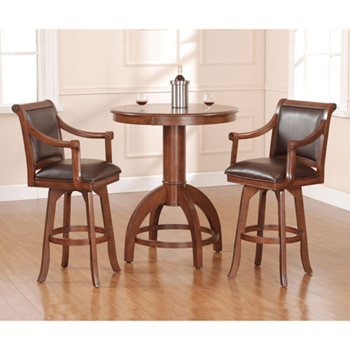 251 First Wellington Medium Brown Cherry 42-Inch Bistro Table and Two Bar Stools